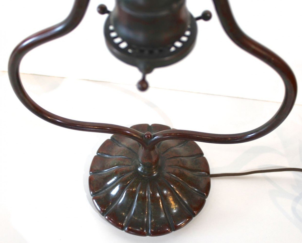Tiffany Studios Bronze Harp Form Desk Lamp Base by Tiffany Studios