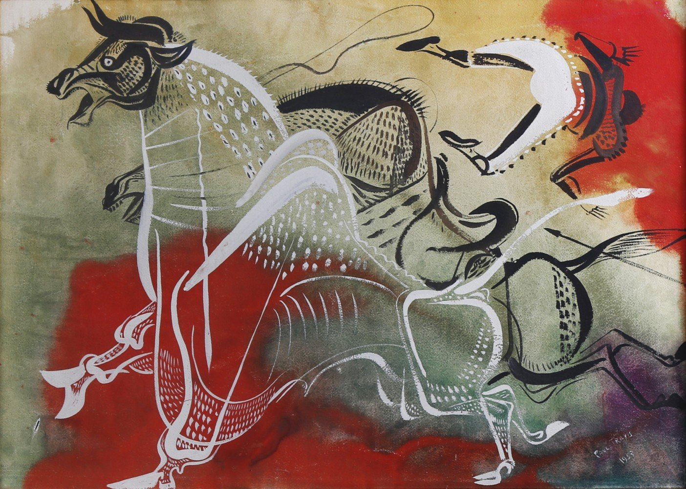 Animal and Figurative Watercolor and Gouache on Paper Painting: