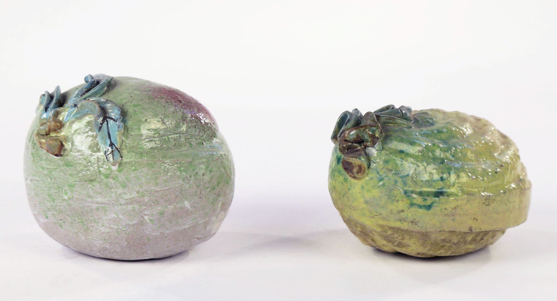 Two Chinese Glazed Ceramic Fruits by 20th Century Chinese School