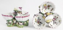 Pair 19th Century German Porcelain Shell Form Sweetmeat Dishes