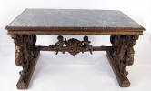 Walnut Decorative Arts: 19th Century Italian Renaissance Style Marble Top Library Table by 19th Century Italian School