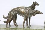 French Bronze and Onyx Inkstand with a Pair of Borzoi