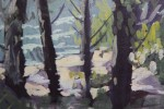 Landscape Gouache on Paper Painting: