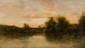 River Scene with Fisherman in Small Boat by Charles Francois Daubigny