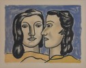 Figurative Color Lithograph Painting: