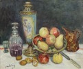 Gustave Madelain - Still Life with Fruit, Decanter, Vase and Jug by Gustave Madelain