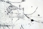 Abstract Figurative Pen and Ink on Paper Drawing: