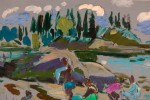 Abstract Landscape Oil and Marker on Paper Painting: