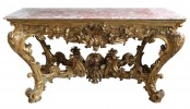 A Monumental Italian Carved and Gilded Wood Console Table by 18th Century Italian School